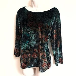 Coldwater Creek velour floral 3/4 sleeve top